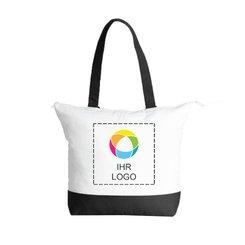 Klassische zweifarbige Deluxe-Baumwolltragetasche mit Reißverschluss