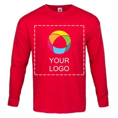 Fruit of the Loom® langærmet T-shirt til herrer i 100% bomuld med print