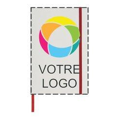 CarnetA5 blanc Spectrum imprimé en couleur avec ruban coloré de Bullet™
