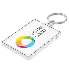 Porte-clés rectangulaire avec image à insérer