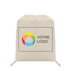 Sac à dos à cordonnet en coton naturel avec jet d'encre couleur