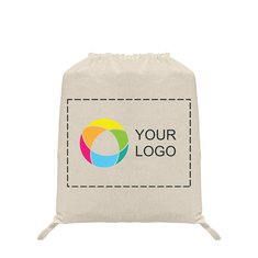 Natural Cotton Drawstring Backpack with Full-Color Inkjet