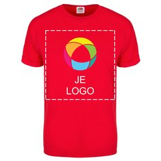 Fruit Of The Loom® 100% Katoen Mannen T-shirt met Korte Mouwen en Gekleurde Overlay