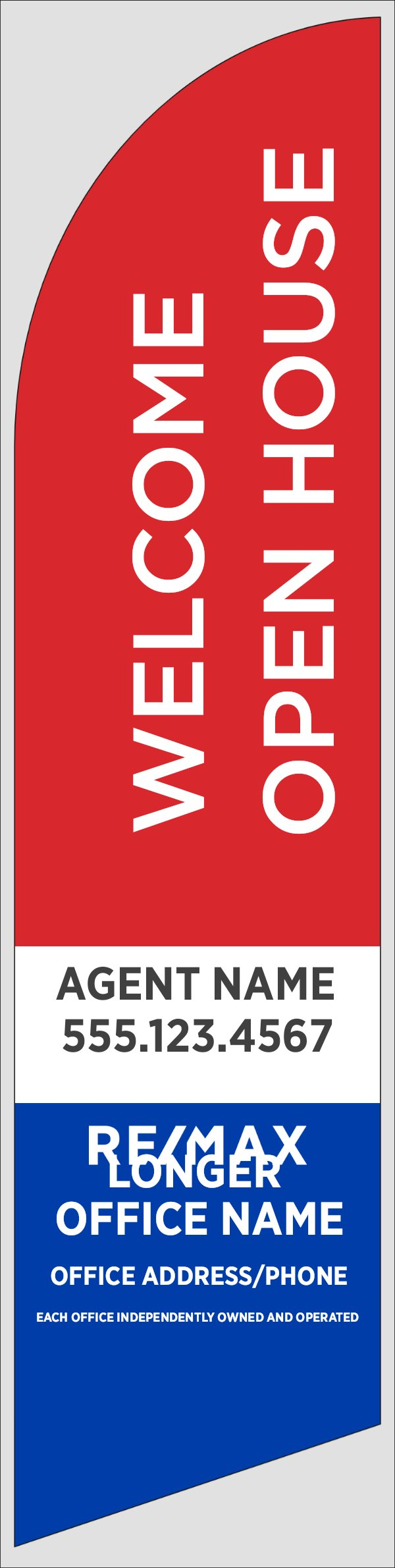 Picture of Red Welcome Open House, Customizable - 12ft x 2.5ft Feather Flag