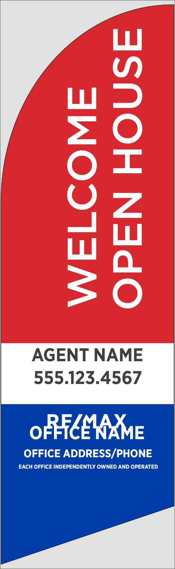 Picture of Red Welcome Open House, Customizable - 10ft x 2.5ft Feather Flag