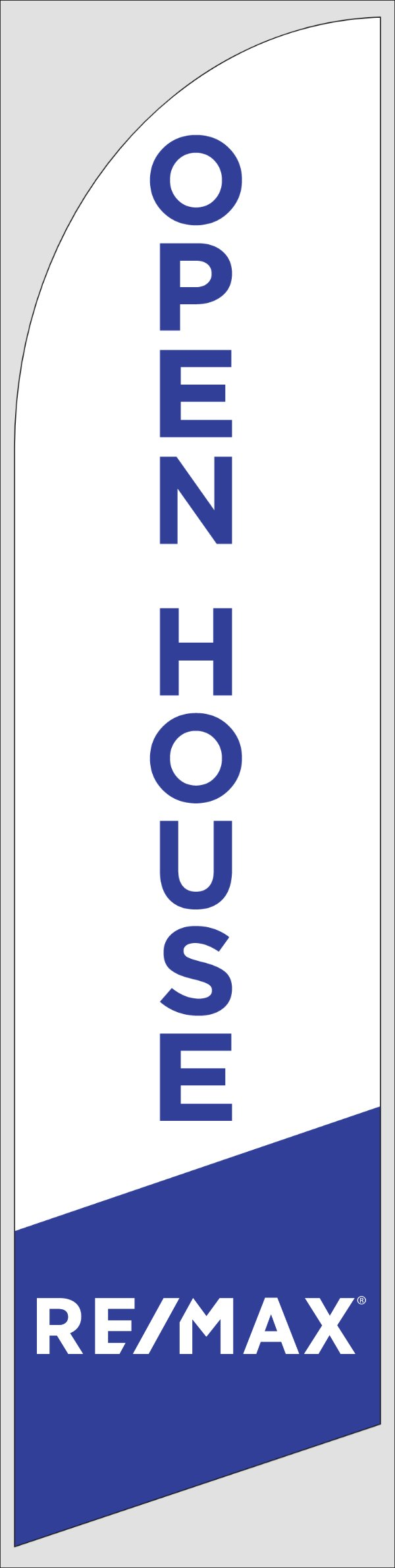 Picture of Open House W/Logo (White) - 12ft x 2.5ft Feather Flag