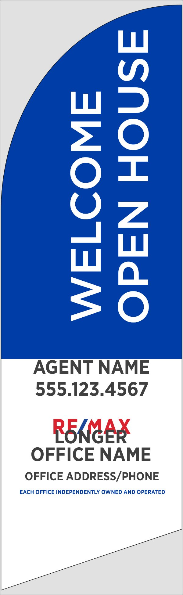 Picture of Blue Welcome Open House, Customizable - 10ft x 2.5ft Feather Flag