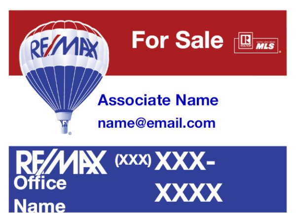 Picture of RE/MAX For Sale Sign with QR Code (email)