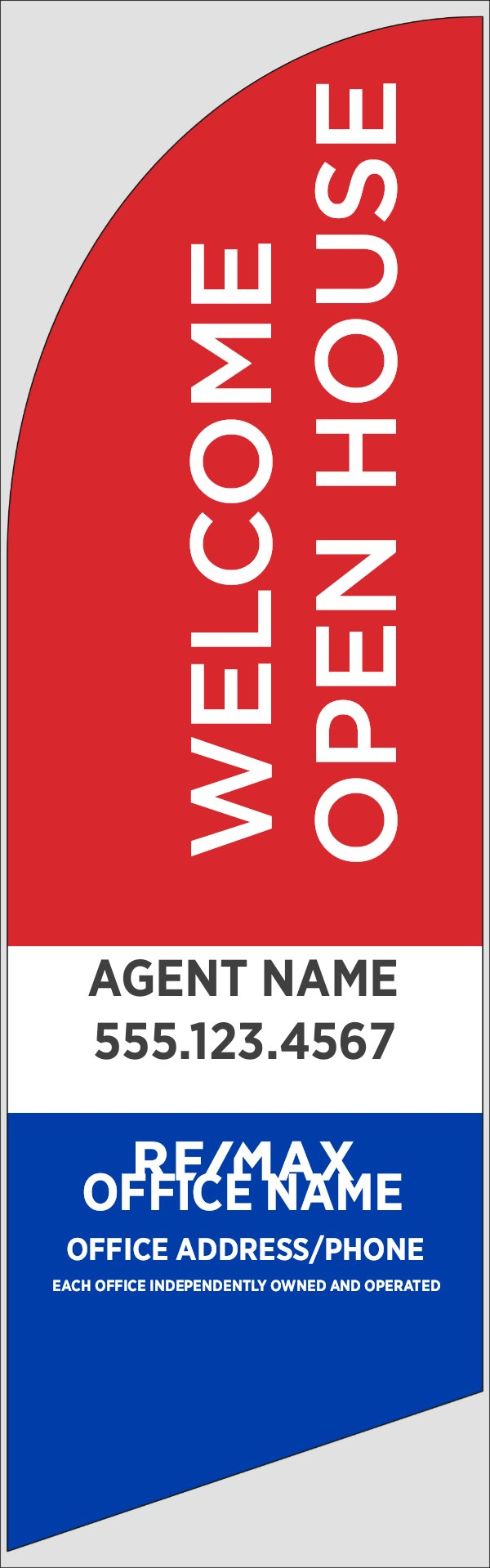 Picture of Red Welcome Open House, Customizable - 8ft x 2ft Feather Flag