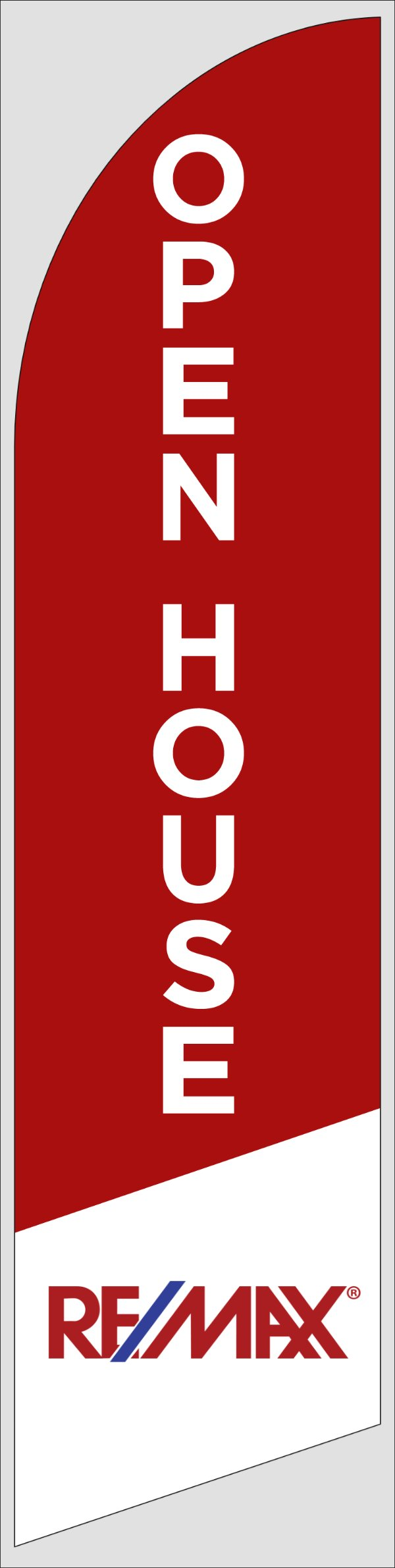 Picture of Open House W/Logo (Red) - 12ft x 2.5ft Feather Flag